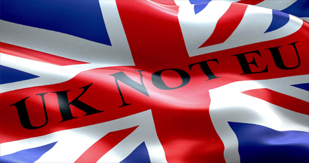 skepticism: brexit united kingdom england flag with word uk not eu, vote for uk exit concept