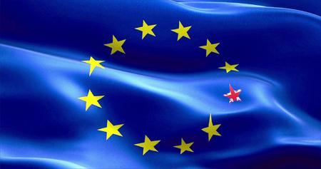 skepticism: brexit united kingdom england flag star on european flag, vote for uk exit concept Stock Photo