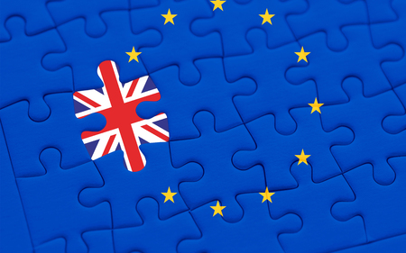 brexit blue european union EU flag puzzle with puzzle piece with great britain flag, vote for uk exit concept
