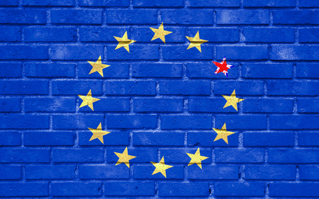 insecurity: brexit blue european union EU flag on brick wall and one star with great britain flag, vote for united kingdom exit concept