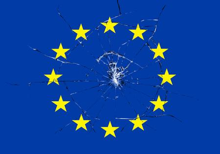 european culture: brexit, broken glass effect on european flag, schengen eurozone crisis, escape from europe united concept