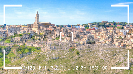 finder: photography focus finder camera view panoramic view of sassi di Matera,basilicata, Italy. Stock Photo