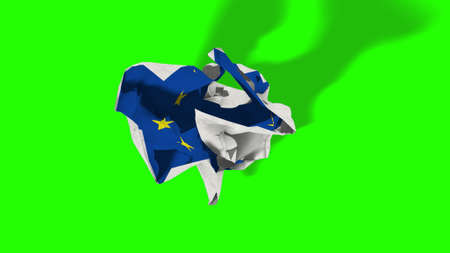 escape key: brexit, rolling crumpled paper with european flag, schengen eurozone crisis, chroma key green screen , escape from europe united concept