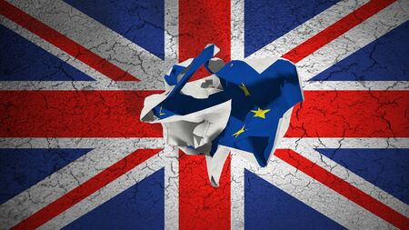 grunge union jack: brexit rolling crumpled paper with blue european union EU flag on grunge great britain uk flag, vote referendum for united kingdom exit concept Stock Photo
