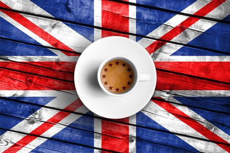 skepticism: brexit cup of coffee with european union EU flag on grunge wood great britain uk flag, vote referendum for united kingdom exit concept Stock Photo