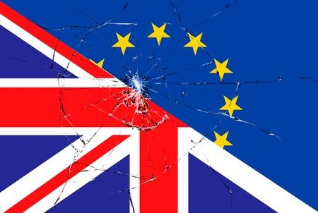 skepticism: brexit blue european union EU flag on broken glass effect and half great britain flag, vote for referendum united kingdom exit concept Stock Photo