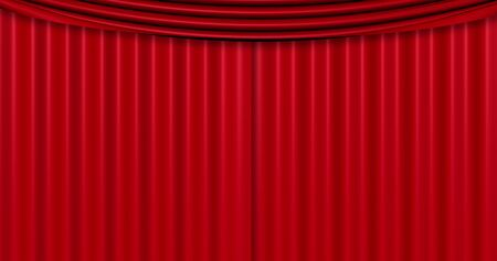 sipario chiuso: closed red curtain background, with chroma key green screen Archivio Fotografico