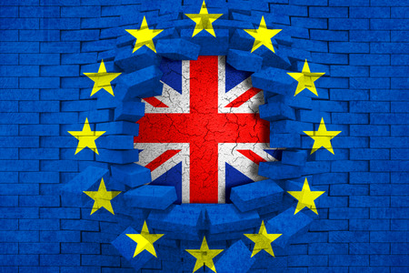 skepticism: brexit blue european union EU flag on broken brick wall with hole and great britain flag inside, vote for referendum united kingdom exit concept