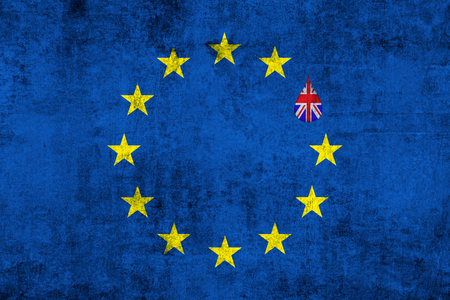 skepticism: brexit blue european union EU flag on grunge texture with drop and great britain flag inside, vote for referendum united kingdom exit concept