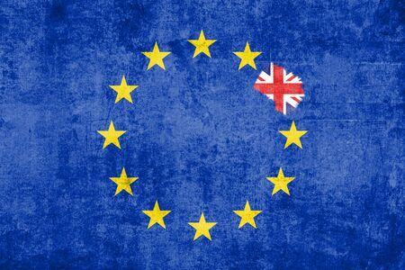 brexit blue european union eu flag on grunge texture with eraser