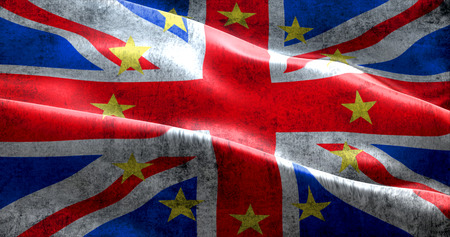 skepticism: brexit grunge uk england great britain flag with european union EU yellow stars, vote for referendum united kingdom exit concept Stock Photo