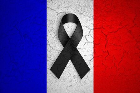 nice france: pray for paris, nice, france, grunge france country flag color background with black ribbon. Attack terrorism victims in france concept