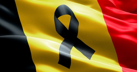 victims: pray for belgium, waving belgium country flag color background with black ribbon, victims in belgium