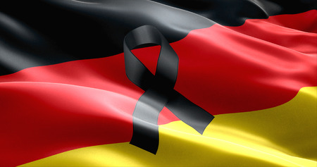 victims: pray for germany, waving germany country flag color background with black ribbon, victims in germany