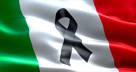 victims: pray for italy, waving italy country flag color background with black ribbon, victims in italy