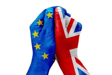 insecurity: brexit, hand patterned with the flag of the blue european union EU and one hand patterned with the flag of the great britain on white background, vote referendum for united kingdom exit concept