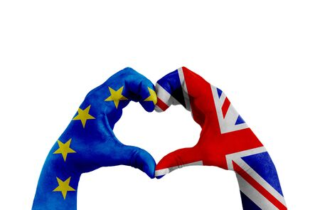 brexit, hands of man in heart shape patterned with the flag of blue european union EU and flag of great britain uk on the white background, vote referendum for united kingdom exit concept