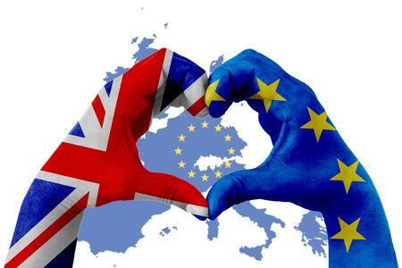 brexit, hands of man in heart shape patterned with the flag of blue european union EU and flag of great britain uk on europe map with yellow stars background, vote referendum for united kingdom exit concept