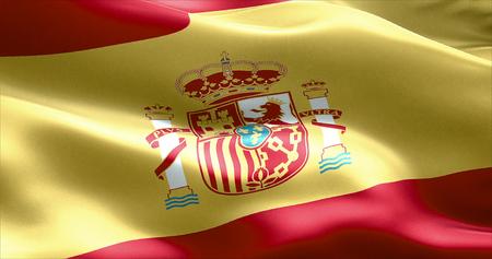 fraternidad: agitando textura de la tela de la bandera con los colores de España, la textura real de la bandera