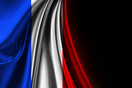 wave equality: fabric texture texture of the flag of france, on black background, with black space for text