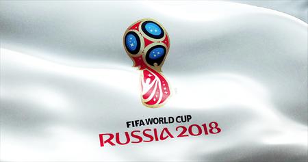 Logo officiel de la Coupe du Championnat du monde en Russie 2018, drapeau flottant au vent, vers la russie Juin 2018 Banque d'images - 63242194