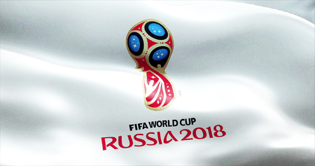 Offizielles Logo der Weltmeisterschaft Cup in Russland 2018, Fahnenschwingen im Wind, Russland circa Juni 2018 Standard-Bild - 63242194