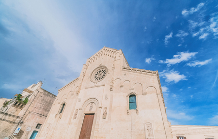 view of typical church of Matera, Cathedral of Matera under blue sky. Stock Photo