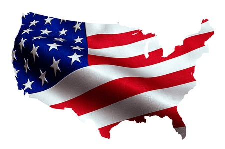 map of American USA with waving flag in background, united states of america, stars and stripes