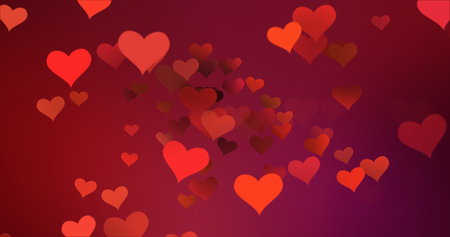 red colorful hearts flying with vortex on red purple gradient background, love and valentine day concept