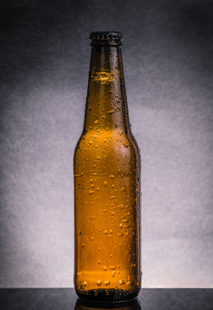 wallop: fresh cold beer ale bottle with drops