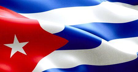 agitando textura de la tela de la bandera de Cuba, textura real de color azul rojo y blanco de la bandera cubana, el concepto de dictadura comunista