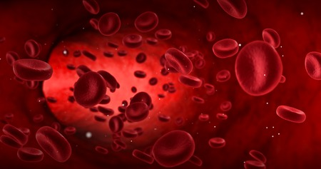 Roten Blutkörperchen in einer Arterie, Strömung innerhalb Körper, medizinische menschliche Gesundheits Standard-Bild - 67136585