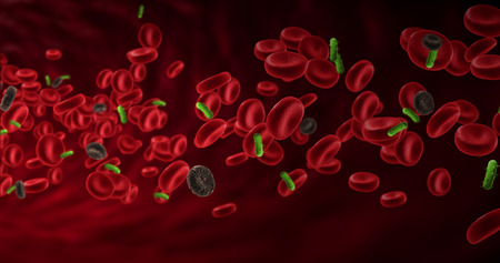diseased: red blood cells in an artery with diseased cells near virus and bacteria, flow inside body, medical human health-care