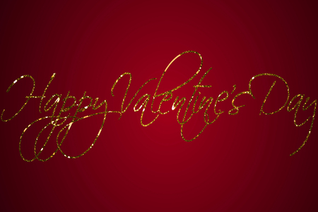 golden sparkle glitter happy valentine day word shape on red gradient background, holiday festive valentine day love concept