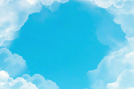 flight over white clouds under blue sky background, seamless loop ready animation  Stock Photo