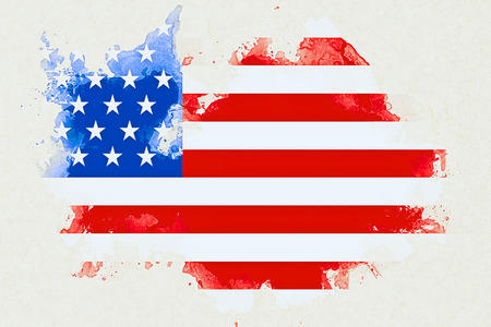 suffrage: united states of america flag on white brick wall background, animation painted with watercolor effect, artistic style usa vote election concept Stock Photo
