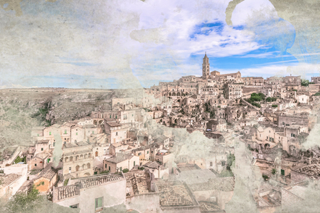 sassi: panoramic view of typical stones (Sassi di Matera) and church of Matera under blue sky, painted with watercolor effect