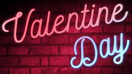 blinking: flickering blinking red and blue neon sign on red love brick wall background valentine day holiday event festive sign concept
