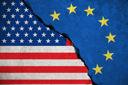 skepticism: blue european union EU flag on broken wall and half usa united states of america flag, crisis trump president and europe euro concept