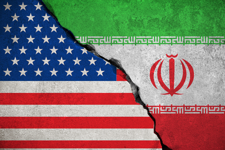 iranian flag on broken wall and half usa united states of america flag, crisis trump president and iran for nuclear atomic risk war concept Stock Photo