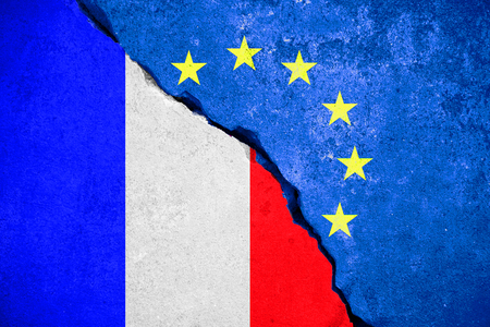 skepticism: frexit blue european union EU flag on broken wall and half france flag, vote for france exit from europe concept