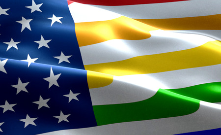 closeup of american USA flag background, stars and stripes with colorful of gay pride rainbow flag, united states of america and civil right flag,no racism, peace and love no war, concept