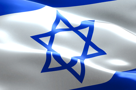 israel flag waving texture fabric background, crisis of jew and islam palestine, risk war concept