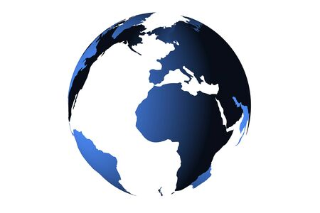 meridiano: blue planet earth from space showing America and Africa, USA, globe world with blue 3D render digital on white background