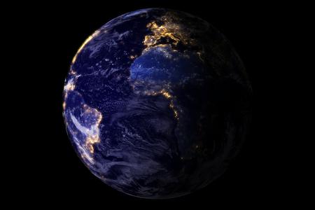 planeta azul desde el espacio mostrando América y África por la noche con luces de la ciudad brillo de la chispa, EE.UU., el globo del mundo aislado en el fondo negro Foto de archivo