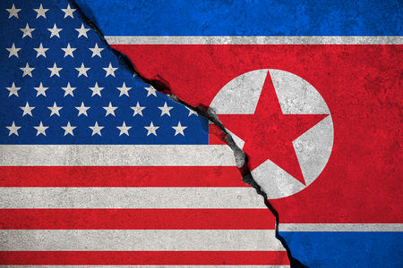 north korea flag on broken brick wall and half usa united states of america flag, crisis trump president and north korean for nuclear atomic bomb risk war concept Stock Photo