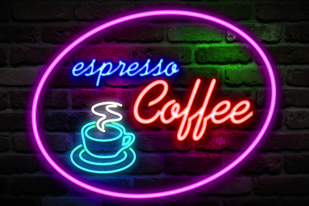 blinking: flickering blinking red and blue neon espresso coffee image symbol sign on brick wall background, open espresso coffee bar relax sign