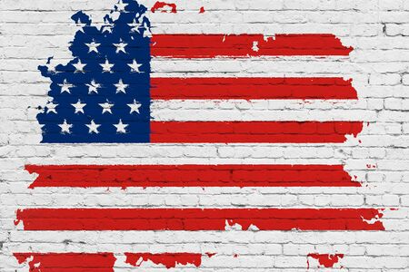 presidency: united states of america flag on white brick wall background, splash painted with watercolor effect, artistic style usa vote election concept