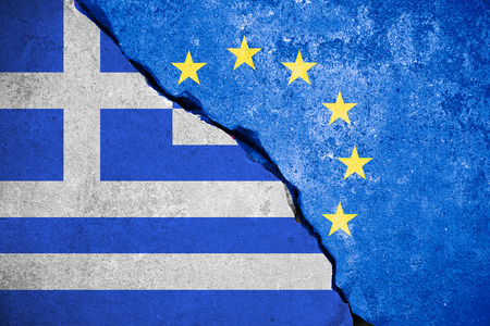 skepticism: grexit blue european union EU flag on broken wall and half greece flag, vote for greek exit from europe concept