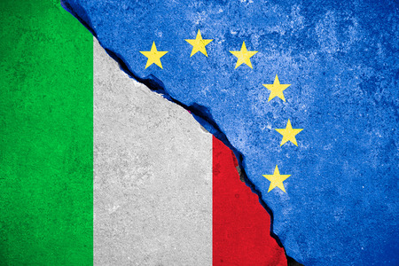 skepticism: italexit blue european union EU flag on broken wall and half italian flag, vote for referendum italy exit from europe concept Stock Photo